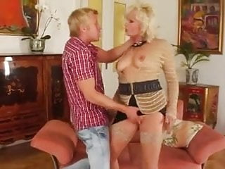 Sexy mom and young boy Blonde mom and young boy