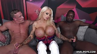 Submissive Bitch Takes Two Dicks Up Her Fuckholes