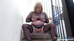 EuropeMaturE Busty Auntie Trisha Solo Masturbation