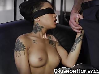 Gold ladyboy fuck Crushgirls - petite honey gold blindfolded and fucked
