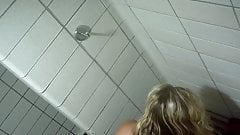 Cute teen blonde caught naked in hostel shower