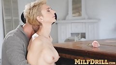 Mature blonde lady Natalie Anna sucks dick and fucked hard