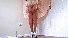 Seamed Stockings White Stilettos