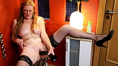 Slutty Ginger Granny Eating a Dildo with Her Pussy