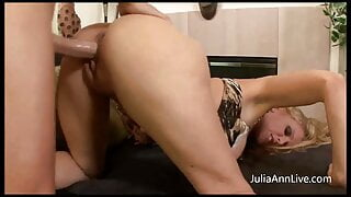 Try Lasting This Whole Video With Julia Ann's MMF Threesome!