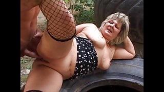 Older step mom in outdoor sex