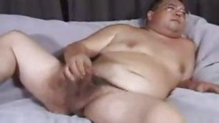 Old fat man masturbation