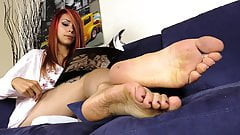 Barefoot Tattooed Redhead plays with her ballet flats