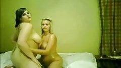 2 Horny Fat Chubby Lesbians rubbing their wet bodies..