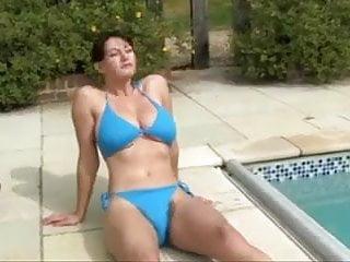 Milf in the kitcen - Hairy milf in the pool