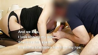 Wife and husband suck lover's cock he cums in our mouths