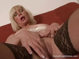 Shoved the suppository up her ass Mature blonde gets a big black cock shoved up her ass
