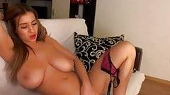 Big boobies model gently strips and masturbates