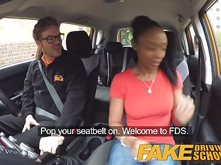 Adult learners problems Fake driving school ebony learner with big tits