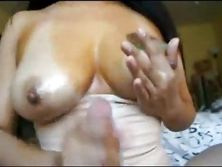 Big nipple handjobs Big nippled latina titfuck, nipple rub, handjob, cumshot