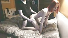 Skinny redhead wife fuck in real homemade. Cum on small tits