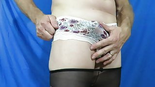 My hard cock in floral cotton panties & smooth pantyhose