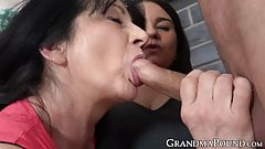 Naughty mature ladies fucked hard by stallion before facial
