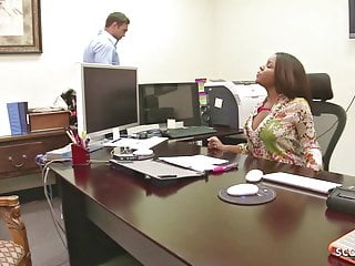 Ebony big tits sex Big tits ebony boss blackmail white boy to fuck her at work