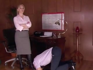 Redhead domme Office domme in stockings worshipped