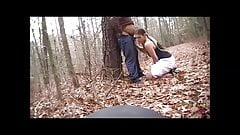 Face fucked in the woods and choking on his dick and stomach
