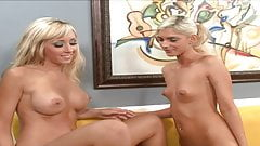 Two very hot sexy blonde lesbians have sex with their dildos