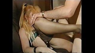 Sonja in fine brown nylons and garter belt