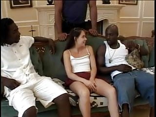 Muscles in teens - Lovely brunette got nailed by group of muscled guys