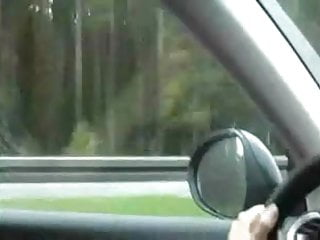 Highway flasher nude Girl masturbates and cums driving down the highway