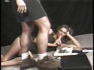 Vintage flapper dress - Hot blonde in black dress sucks dick and gets fucked