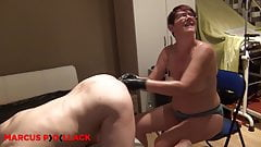 Nurse Sandra fists a slaves ass elbow deep