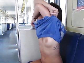 Amateur train public Girl flashing in public train