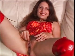 Lady in red naked Lady in red fucked in her hairy cunt