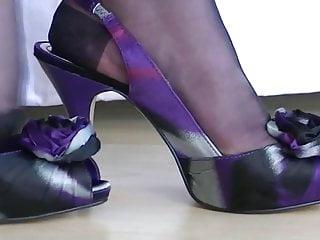 Rht footjob - Nylon foot play in black rhts