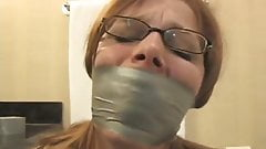 Girl Duct Tape Wrapped Gagged in Bathroom