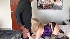 blonde hotwife in purple corset fucking bbc MILF