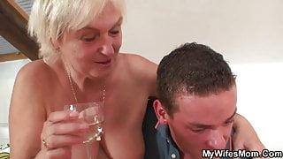 Her blonde old stepmom and boyfriend taboo sex