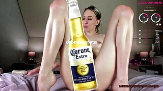 Huge long dildo destroying her tight wet anal