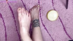Foot Massage with Cream Close Up - Foot Fetish