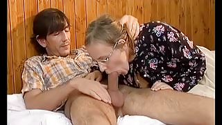 busty hairy granny enjoys her first anal sex