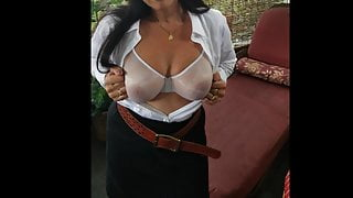 Shy Wife Teasing In Satin and  See Through Bra
