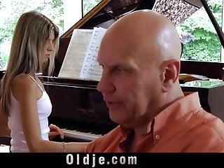 Trembling breasts - Skilfull old man makes skinny teen trembling at climax