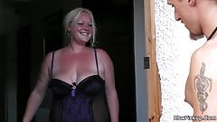 Great sex with blond-haired BBW neighbor