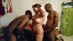 A gang bang with black guys and a white girl