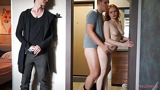 Redhead girl pays with her body for pizza – cuckold watching