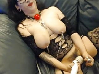 Adult sexual tats Tat girl with nipple clamp, hook dildo and vibe gets off big