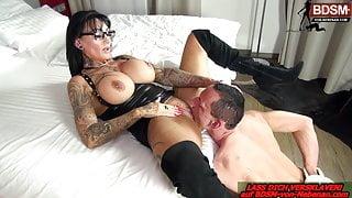 German big tits domina REAL FEMALE ORGASM from BDSM slave