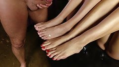 super hot foot fetish 3some cumshot
