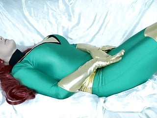 Superhero hentai doujinshi Redhead big booded superhero cosplayer masturbates