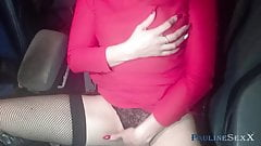 Girl Fingering Pussy In Daddy's Car Until He Sees